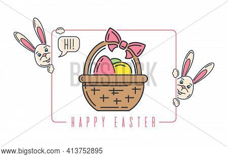Easter Line Logo Icon With Bottle Of Wine, Easter Bunny And Basket With Easter Eggs. Vector Illustra