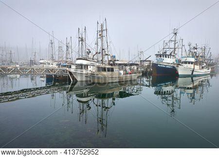 Richmond, British Columbia, Canada - January 10, 2018. Steveston Commercial Fishboats At Dock. Calm