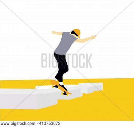 Teenager Skateboarder Does An Ollie Trick. Guys In Casual Clothes Skateboarding And Showing Exciting