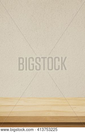 Vertical Brown Wood Table And Brown Cement Wall Background In Kitchen, Wooden Shelf, Counter For Foo