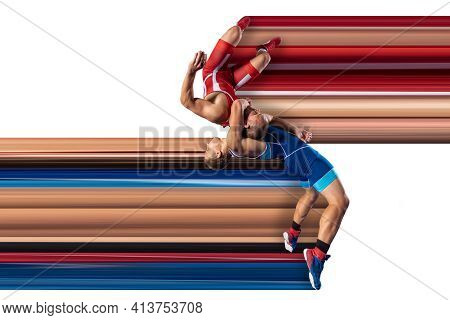 Illustration Of Reception In Greco-roman Wrestling. Back Bend Throw With Dynamic Stripes On White Is