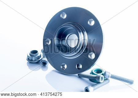 Accessories For Cars. Set Of New Metal Car Part. Auto Motor Mechanic Spare Or Automotive Piece Isola