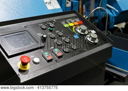Control Console With Touch Screen. Control Console Of Automated Metalworking Equipment. Selective Fo