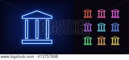 Neon Bank Building Icon. Glowing Neon Bank Sign, Outline Central Bank Symbol In Vivid Colors. Vector
