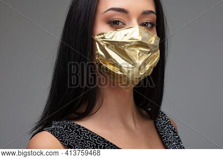 Price Rise Of Face Masks And Scarcity In Covid-19 Times Concept As A Beautiful Young Woman Girl Brag