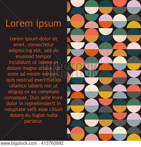 Modern Vector Abstract Pattern With Semicircles And Circles In Retro Scandinavian Style. Bright Geom
