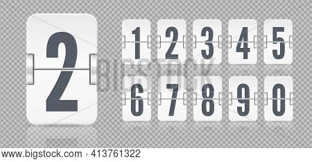 White Set Of Flip Numbers On A Mechanical Scoreboard With Reflections. Vector Template For Your Desi