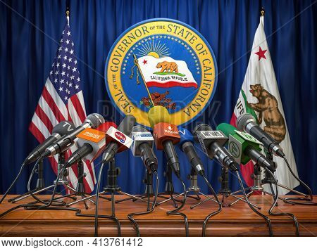 Press conference of governor of the state of California concept. Microphones TV and radio channels with symbol and flag of California state.  3d illustration