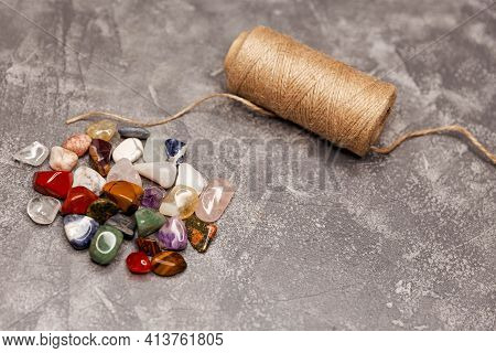 Magic Stones. Dark, Mysterious, Divination.composition Of Esoteric Objects, Used For Healing And For