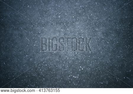 White Crystals Of Frost On The Ice With Frozen Bubbles Of Water. Background