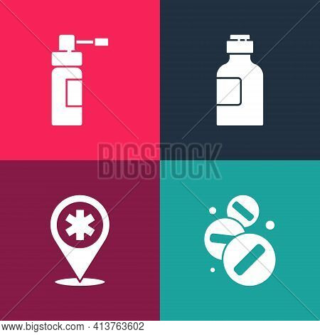 Set Pop Art Medicine Pill Or Tablet, Map Pointer With Cross Hospital, Bottle Of Medicine Syrup And N