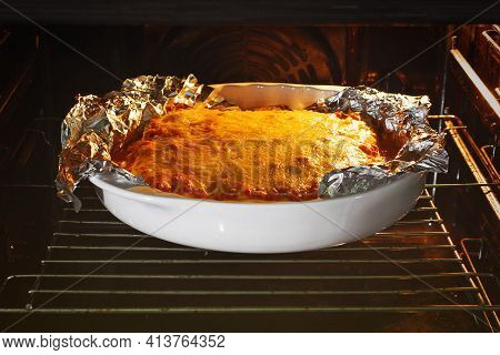 Lasagna Is Cooked In The Oven Lasagna Is Cooked