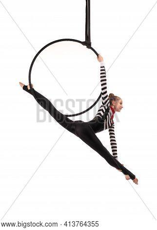 Aerial Teen Acrobat Performing Split On Air Hula Hoop