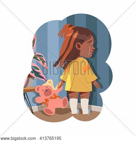 Little Girl Standing With Teddy Bear Crying Afraid Of Something Vector Illustration