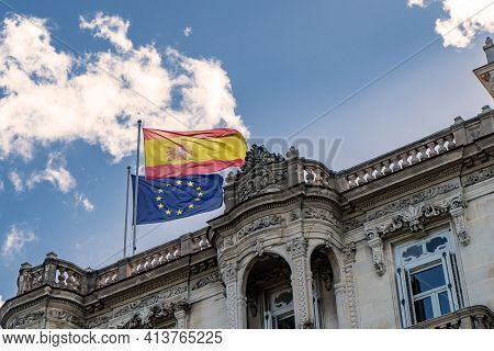 Havana Cuba. November 25, 2020: Flags Of Spain And The European Waving Over The Embassy Of Spain In