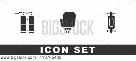 Set Aqualung, Boxing Glove And Longboard Or Skateboard Icon. Vector