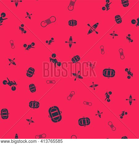 Set Rafting Boat, Climber Rope, Motorcycle And Kayak Canoe On Seamless Pattern. Vector