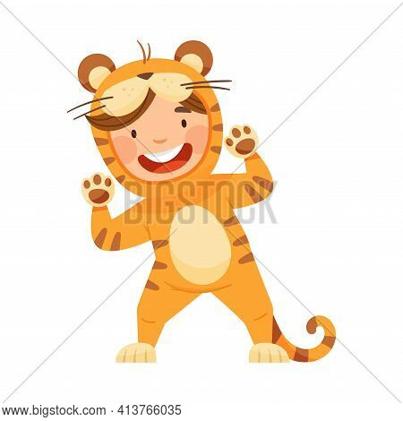 Cute Boy Wearing Striped Tiger Costume Role Playing And Having Fun Vector Illustration