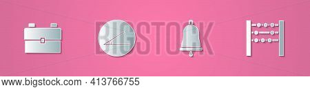 Set Paper Cut School Backpack, Acute Angle, Ringing Bell And Abacus Icon. Paper Art Style. Vector