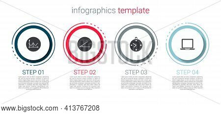 Set Graph, Schedule, Chart, Diagram, Acute Angle, Clock And Laptop. Business Infographic Template. V
