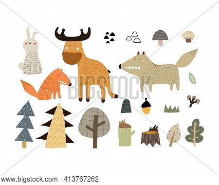 Cartoon Set With Animals, Trees, Decor Elements. Forest, Woodland. Colorful Vector Illustration For