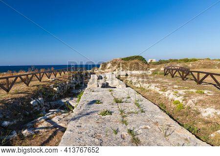 Roca Vecchia, Archaeological site near Torre di Roca Vecchia, Apulia, Italy