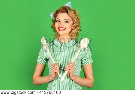 Housekeeper With Kitchen Utensil. Retro Woman Cooking, Gender Inequality. Housework, Chef Cooking, W