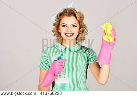 Beauty Woman Hold Soup Bottle, Duster. Cleaning, Retro Style, Purity. Housekeeper In Uniform With Cl