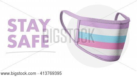 Stay Self. Protective Reusable Fabric Medical Mask. Lgbt Symbols. Intersexual Flag. Sexual Identity