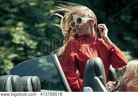 Travel And Summer Vacation. Modern Life, Luxury, City, Glamour. Business Trip, Happy Girl Driver. Bu