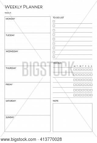 Stationery Organizer For Weekly Plans, Weekly Planner Template With Notes And To Do List.