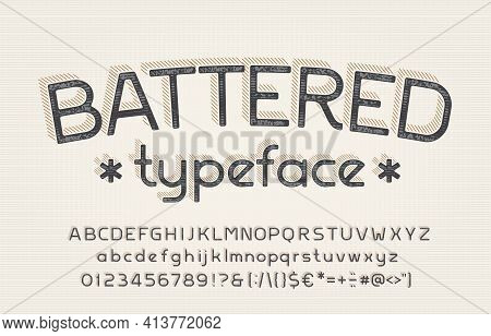 Battered Alphabet Font. Shabby Vintage Letters, Numbers And Symbols. Uppercase And Lowercase. Stock