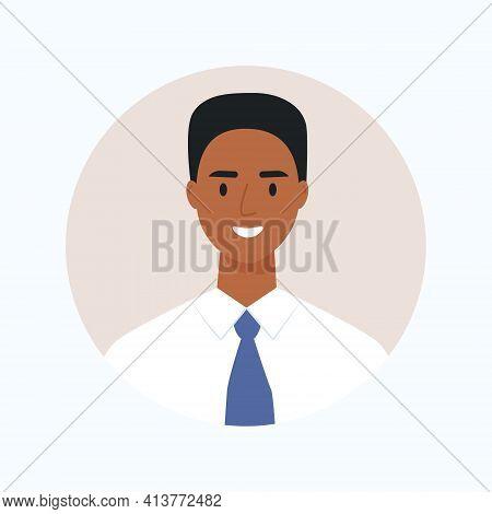 Black Skin Businessman Avatar, Portrait Of Young Man Wearing A Tie. Vector Illustration Cartoon Flat