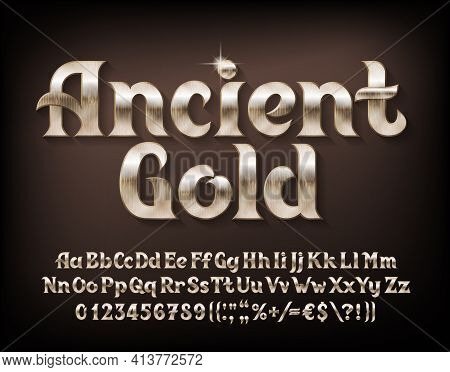 Ancient Gold Alphabet Font. Beveled Golden Letters, Numbers And Punctuations. Uppercase And Lowercas