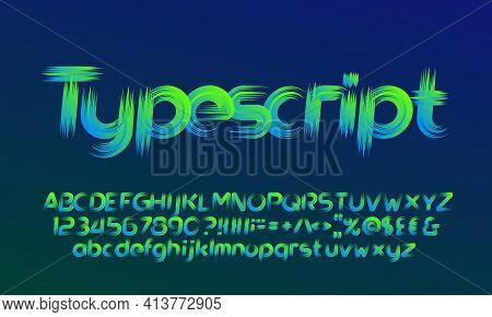 Abstract Alphabet Font. Brush Effect Letters, Numbers And Punctuation. Uppercase And Lowercase. Stoc