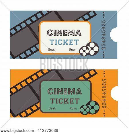 Vintage Cinema Ticket With Cine-film On Yellow Background. Ticket Retro Design Movie Illustration.