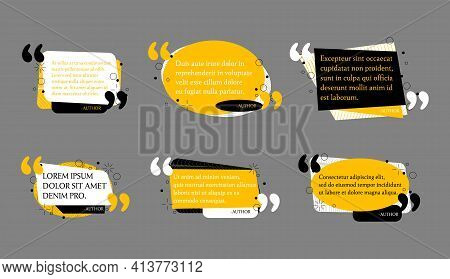 Abstract Quote Text Box Set. Quotation Remark Frames. Quotes Bubble And Mention Quotations Remarks T