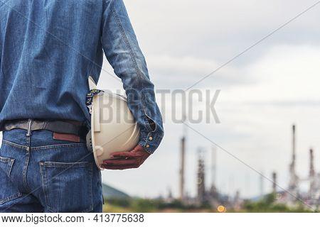 Engineer Man Hands Holding Hardhat White Work Helmet Hard Hat For Civil Construction Engineering. Co
