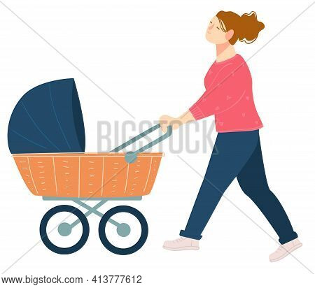 Mother Walking With Perambulator And Kid Vector