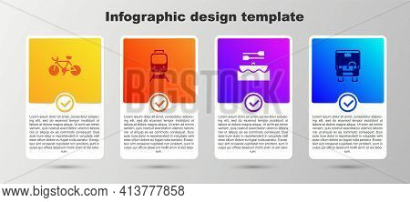 Set Bicycle, Train And Railway, Boat With Oars And Bus. Business Infographic Template. Vector
