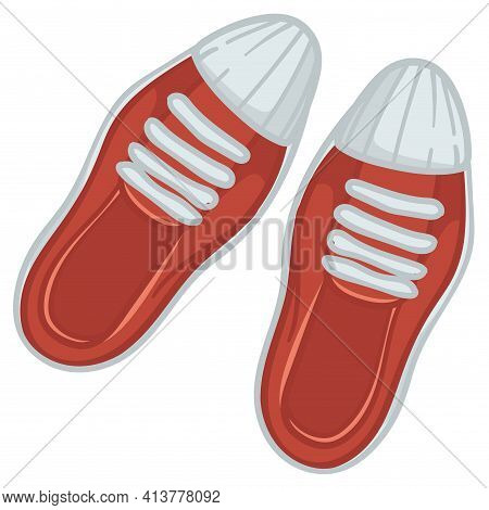 Trendy Female Shoes, Sneakers With Shoelace Vector