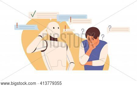 Robot Vs Human Concept. Smart Ai Versus Peoples Mental Capacity. Artificial Intelligence And Person