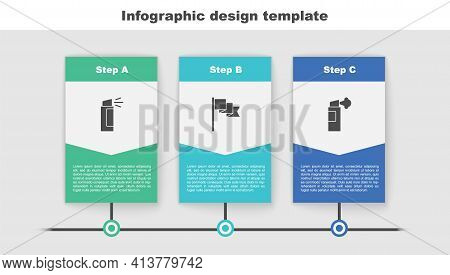 Set Pepper Spray, Location Marker And . Business Infographic Template. Vector