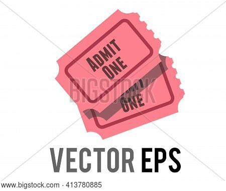 The Isolated Vector Pink Tradional Admission Ticket Icon With Words Admit One And Number