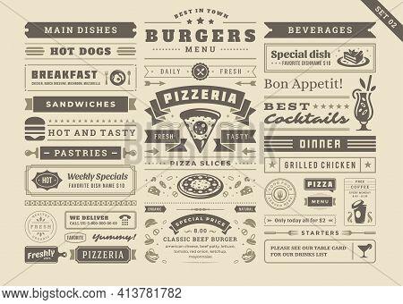 Restaurant Menu Typographic Decoration Design Elements Set Vintage And Retro Style Vector Illustrati