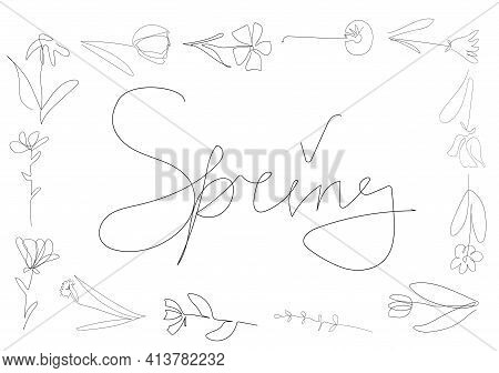 Frame Of Beautiful Flowers On The White Background, One Continuous Line, Black Outline Art, Floral V