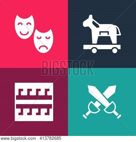 Set Pop Art Crossed Medieval Sword, Ancient Greek Pattern, Trojan Horse And Comedy And Tragedy Masks