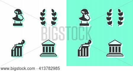 Set Parthenon, Ancient Bust Sculpture, Broken Ancient Column And Laurel Wreath Icon. Vector