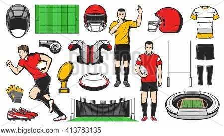 Rugby Sport Vector Icons. American Football Game Isolated Signs Professional Player Run With Ball, H