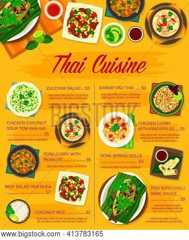 Thai Food Menu, Thailand Cuisine Asian Dishes, Vector Restaurant Menu Cover. Thailand Cuisine Tradit